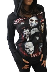Hollywood Undead Metal Rock DIY Zombie Thumbhole Reverse Stitch Pullover Hoodie Top Shirt