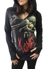 Korn Metal Rock DIY Zombie Thumbhole Reverse Stitch Pullover Hoodie Top Shirt