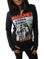 Ramones Metal Rock DIY Zombie Thumbhole Reverse Stitch Pullover Hoodie Top Shirt