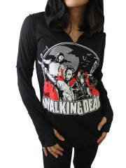 The Walking Dead Metal Rock DIY Zombie Thumbhole Reverse Stitch Pullover Hoodie Top Shirt
