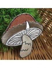 Brown Mushroom Sew Iron On Embroidered Patch
