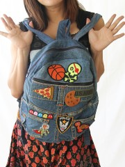 Denim Crossbody Bag Studded Fringe with Embroidered Patches