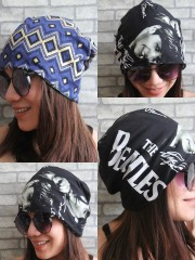 The Beatles Hipster Gypsy Reversible Beanie Cap Hat