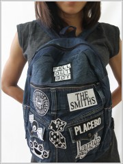 Denim Backpack with Embroidered Patches