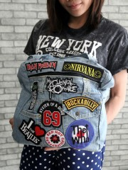 Denim Backpack Fall Out Boy / The Smith / Ramones / Placebo / Lamb of God / Five Finger Death Punch
