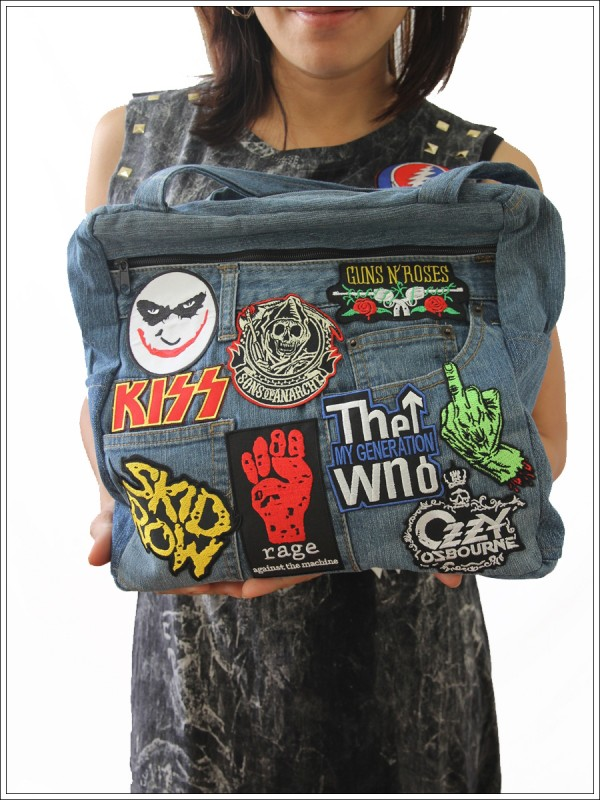 Denim Laptop Shoulder Bag Joker Kiss Guns N Roses Skid Row