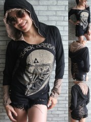 Black Sabbath Metal Punk Rock DIY Funky Corset Hoodie Top Shirt
