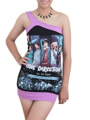 One Direction Pop Dance DIY Sexy One Shoulder Tank Tunic Top