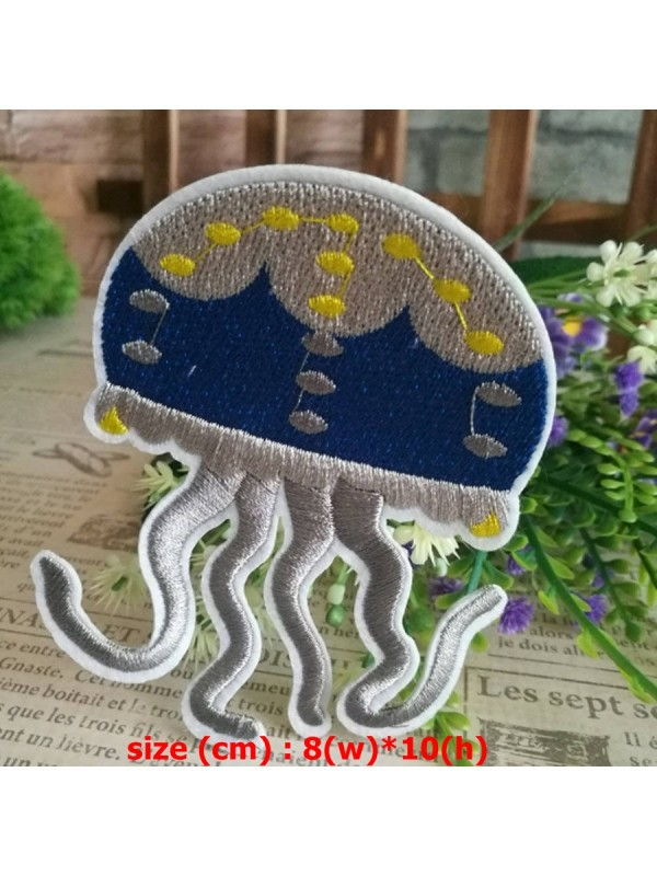 Jellyfish Patch Iron On Sew On Jelly Fish Embroidered Badge Embroidery Applique
