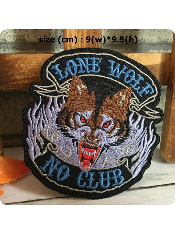 a7187beefac3d lonewolf01| Lone wolf No Club Biker Embroidered Iron/Sew on Patch ...