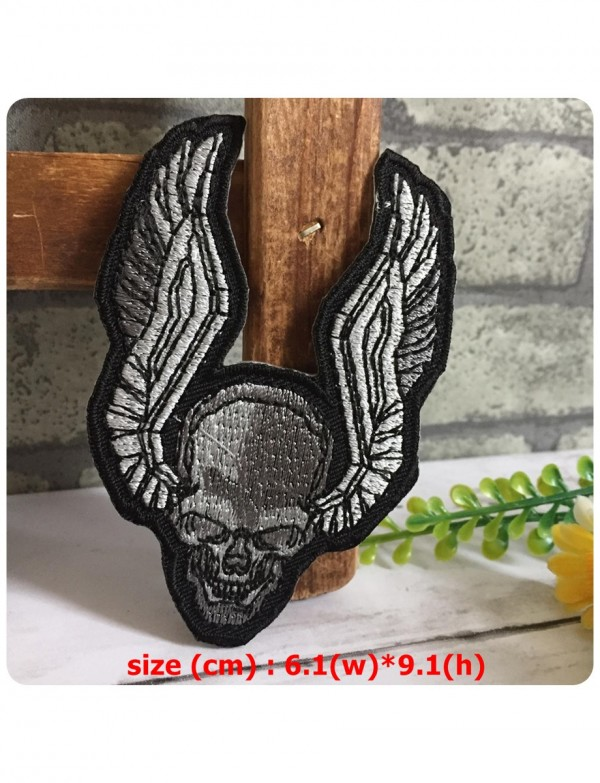 Skullwing Skull Wings Biker Rock Embroidered Iron On Sew
