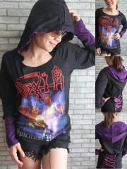 Death Heavy Metal Rock DIY Corset Hoodie With Ivolet Giant Hood