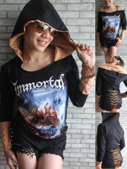 Immortal Metal Rock DIY Corset Hoodie With Ovaltine Giant Hood
