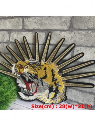 152e9f9ed84d Large Tiger Head Shining Embroidered Big Back Patch Applique Iron on ...