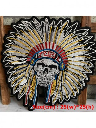 Tribal Feather Head Skull Embroidered Big Back Patch