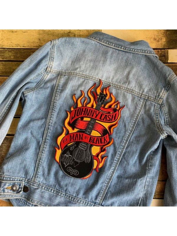 Johnny Cash Fire Guitar Embroidered Big Back Patch