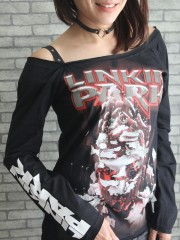 Linkin Park Heavy Metal Rock DIY RawEdge Off Shoulder Top