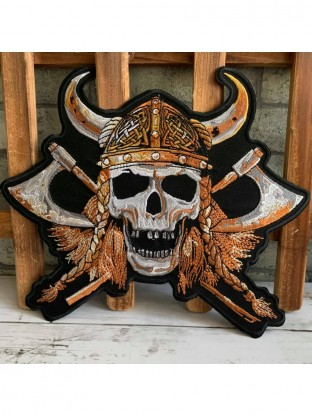 Skull Viking Warrior Embroidered Big Back Patch Applique