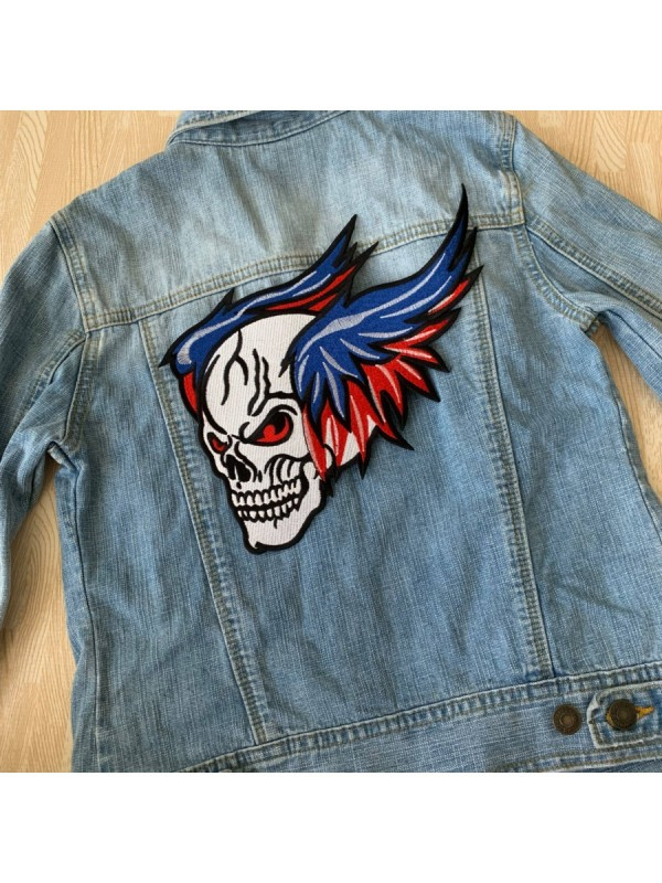 Large Size Flying Skull Embroidered Big Back Patch