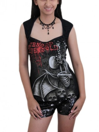 Avenged Sevenfold Heavy Metal  DIY Sexy Pentagon Neckline Tee Top