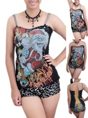 A Day To Remember Metal Punk Rock DIY Victorian Lace Corset Top With Chain Strap