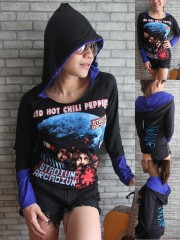Red Hot Chili Peppers Metal Rock DIY Funky Corset Hoodie Top Shirt