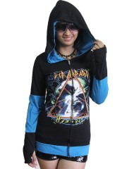 Def leppard Heavy Rock DIY Funky Zip Hoodie Jacket Top Shirt