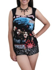 Red Hot Chili Peppers Metal Rock DIY Sexy Pentagon Neckline Tee Top