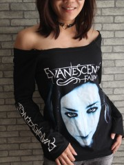 Evanescence Goth Metal Rock  DIY Black Raw Edge Off Shoulder Top