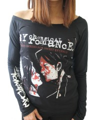 My Chemical Romance Punk Rock Band DIY Women Black Raw Edge Off Shoulder Top