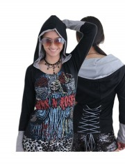 Guns N' Roses Metal Rock DIY Funky Corset Hoodie Top Shirt