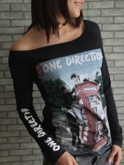 One Direction Pop Dance DIY Black Raw Edge Off Shoulder Top