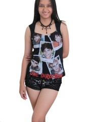 One Direction 1D Rock DIY Sexy Pentagon Neckline Tee Top
