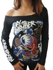 A Day To Remember Metal Punk Rock  DIY Black Raw Edge Off Shoulder Top