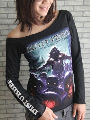 Disturbed Hard Metal Rock  DIY Black Raw Edge Off Shoulder Top
