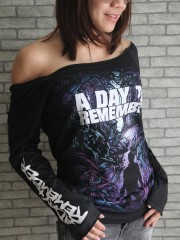 A Day To Remember Metal Punk Rock  Punk Rock Emo DIY Black Raw Edge Off Shoulder Top
