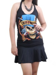 Guns N' Roses Hard Rock  DIY SEXY HALTER MINI DRESS