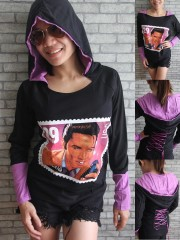 Elvis Presley Rockabilly Rock DIY Funky Corset Hoodie Top Shirt