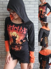 Deicide Death Metal Rock DIY Funky Corset Hoodie Top Shirt