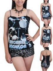 Michael Jackson MJ Pop Rock DIY Victorian Lace Corset Top With Chain Strap