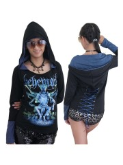 Behemoth Death Metal Rock DIY Funky Corset Hoodie Top Shirt