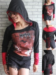 Immolation Metal Punk Rock DIY Funky Corset Hoodie Top Shirt