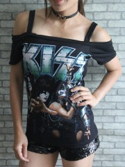 Kiss Hard Punk Rock  DIY Sexy Tee Tank Top Shirt