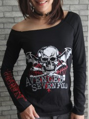 Avenged Sevenfold Heavy Metal  DIY Black Raw Edge Off Shoulder Top
