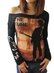 The Cure Alternative Punk Rock DIY Black Raw Edge Off Shoulder Top