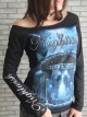 Nightwish Goth Metal Rock DIY Black Raw Edge Off Shoulder Top
