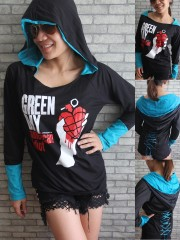 Green Day Metal Punk Rock DIY Corset Hoodie Top Shirt