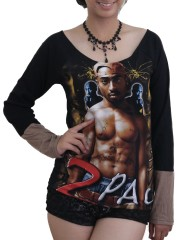 Tupac shakur American Raper DIY Raw Edge Lace Sleeves Off Shoulder Top M