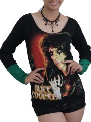 Alice Cooper Metal Rock DIY Raw Edge Lace Sleeves Off Shoulder Top M