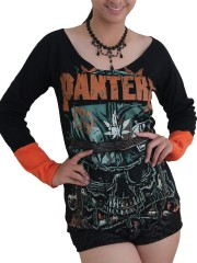 Pantera Heavy Metal Rock DIY Raw Edge Lace Sleeves Off Shoulder Top M